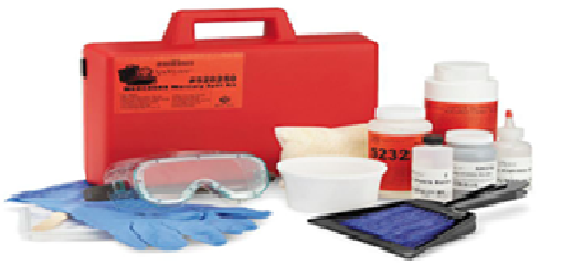 mercury spill kit contents in red briefcase