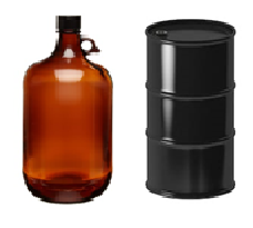 black drum and glass bottle